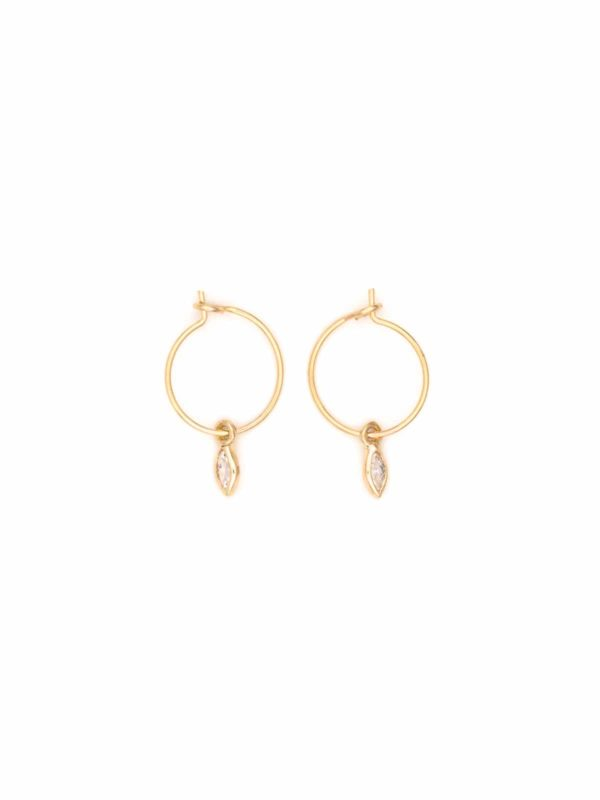 Marquise tiny hoop earrings