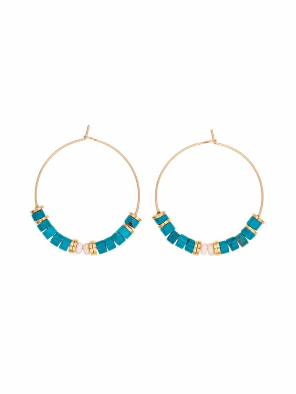 Pamela turquoise surfer large hoop earrings
