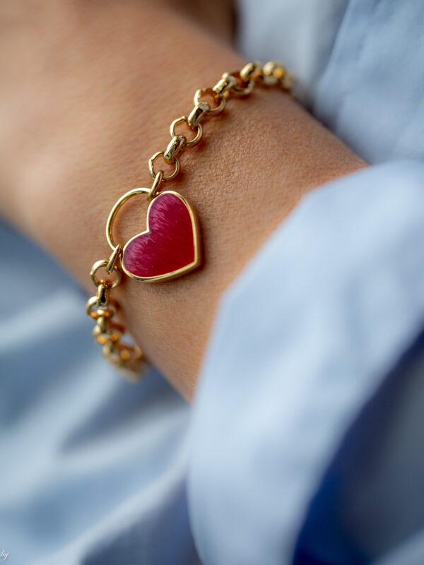 Bracelet Charm Coeur Emaille Rose 3 Luj Paris Bijou