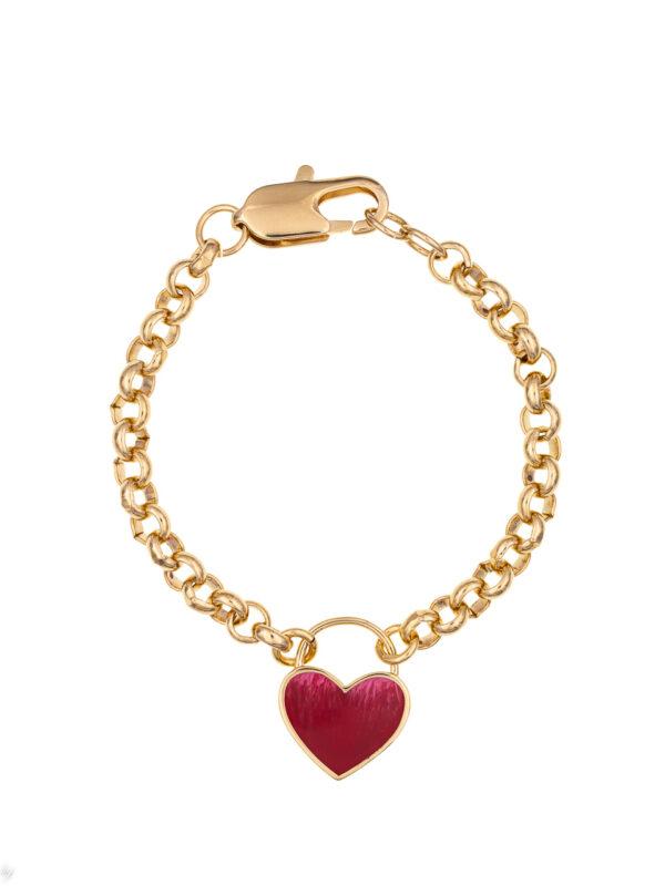 Bracelet Charm Coeur Emaille Rose Luj Paris Bijou
