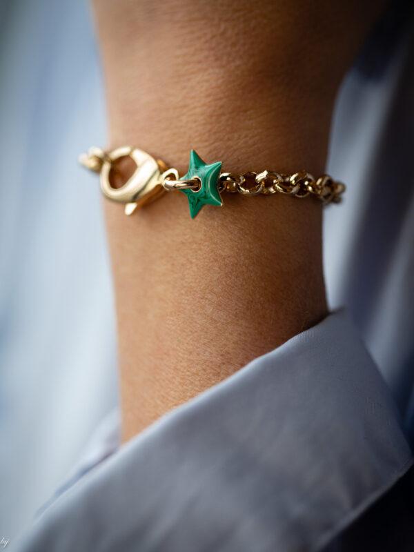 Bracelet Charm Etoile Emaille Anemone 3 Luj Paris Bijou