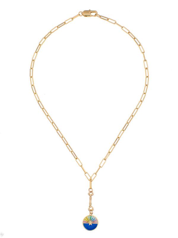 Collier Medaille Emaille Arc En Ciel Bleu Elena Luj Paris Bijou