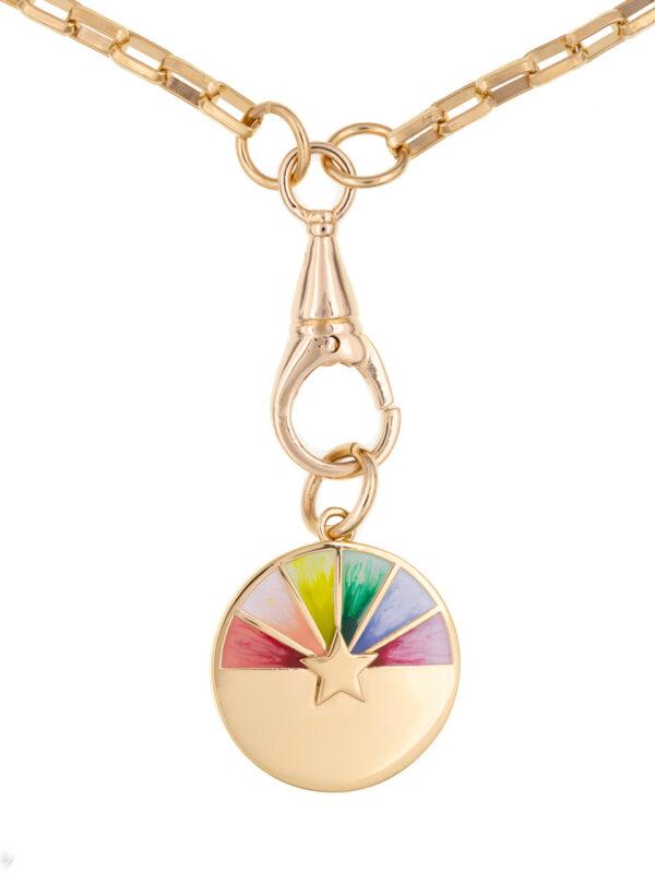 Collier Medaille Emaille Arc En Ciel Laurie 1 Luj Paris Bijou