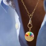 Collier Medaille Emaille Arc En Ciel Laurie 3 Luj Paris Bijou