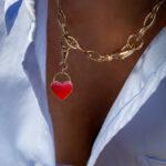 Collier Ras De Cou Charm Coeur Emaille Rose 3 Luj Paris Bijou