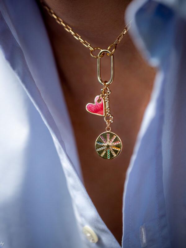 Collier Ras De Cou Charm Coeur Et Medaille Brillant Multicolor V