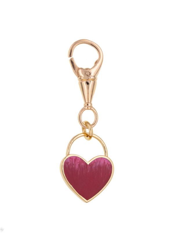Pendentif Mousqueton Coeur Emaille Rose Luj Paris Bijou