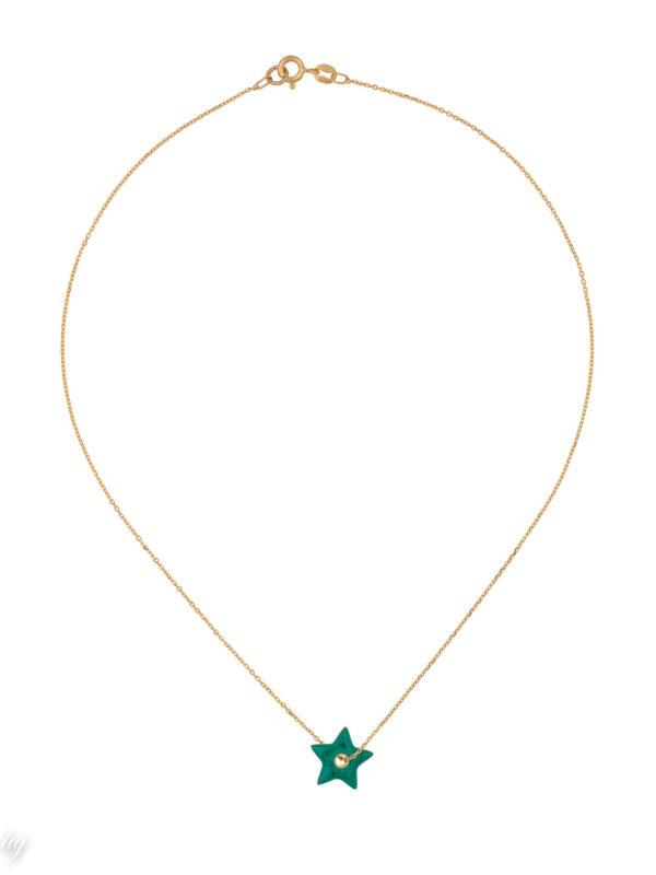 collier ras de cou charm etoile verte emaille anemone luj paris