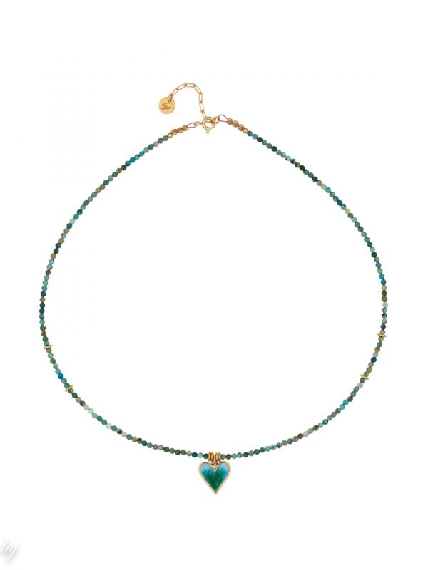 collier ras de cou rubis zoisite turquoise charm coeur emaille a