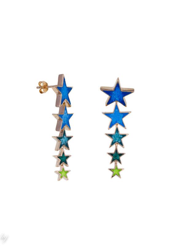 boucle oreille etoile filante bleu vert lauren luj paris bijou