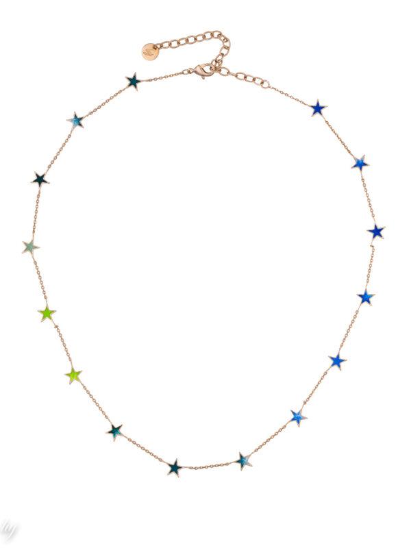 collier fin etoile bleu vert lauren luj paris bijou